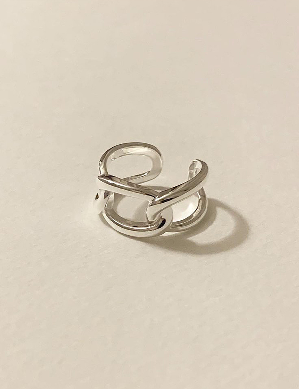 (silver 92.5) Bold chain ring