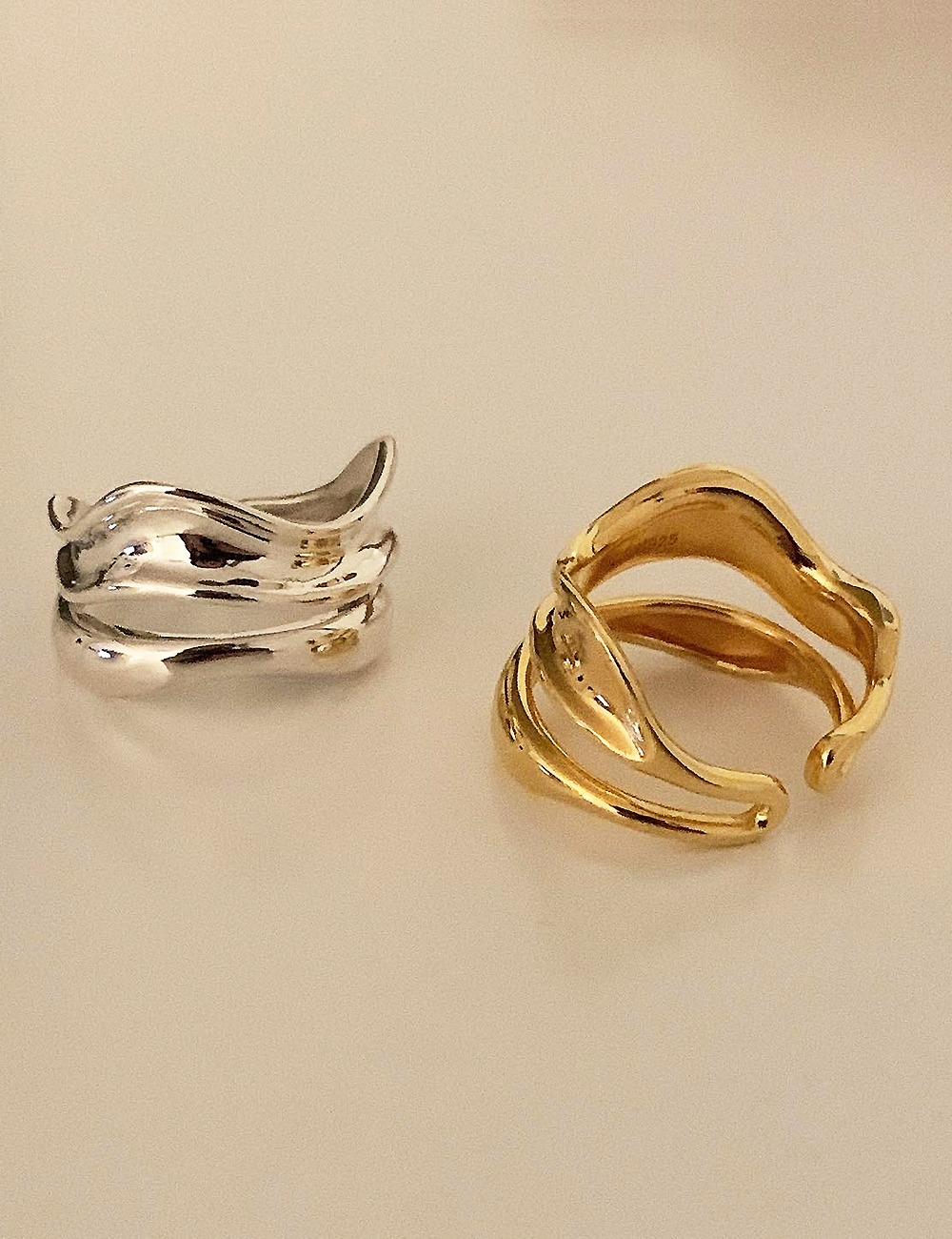 (silver 92.5) Wave double bold open ring
