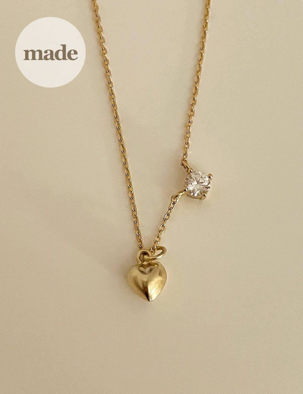 (silver 92.5) Heart cubic necklace / gleamme made
