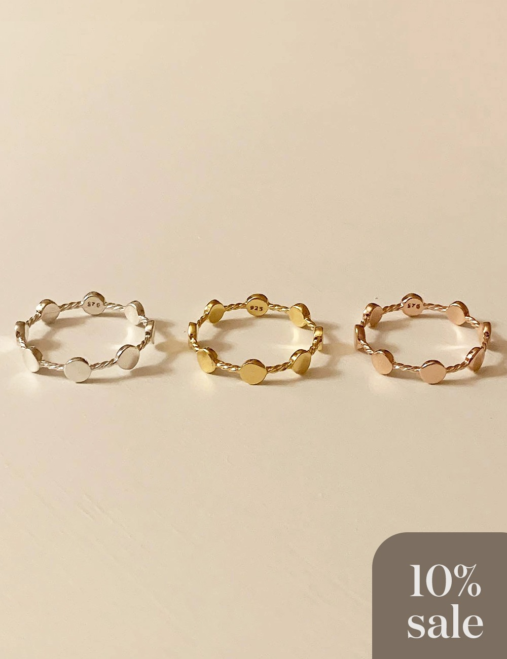 (silver 92.5) Dote chain ring