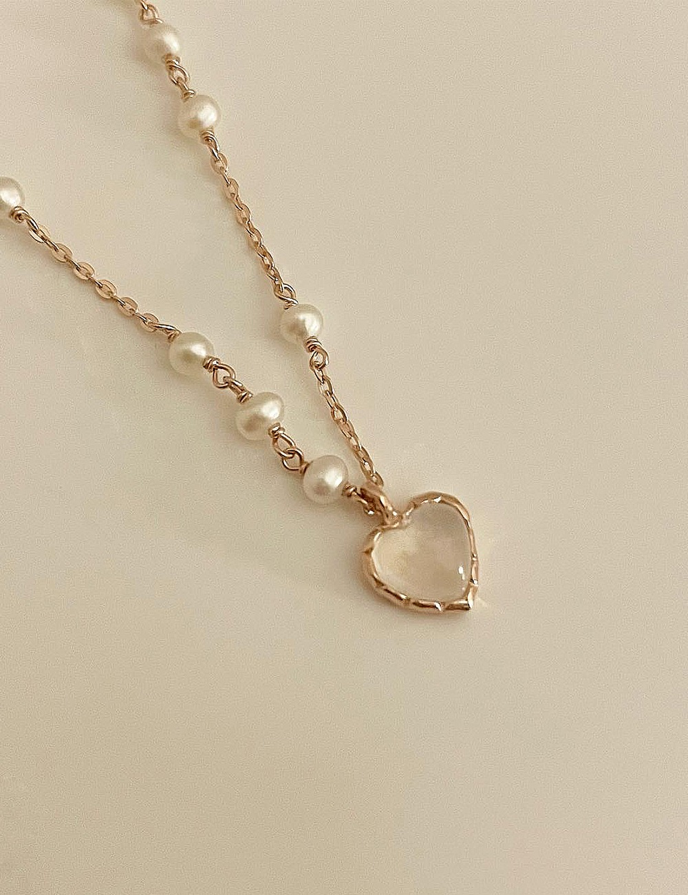 (silver 92.5) Moonstone heart necklace