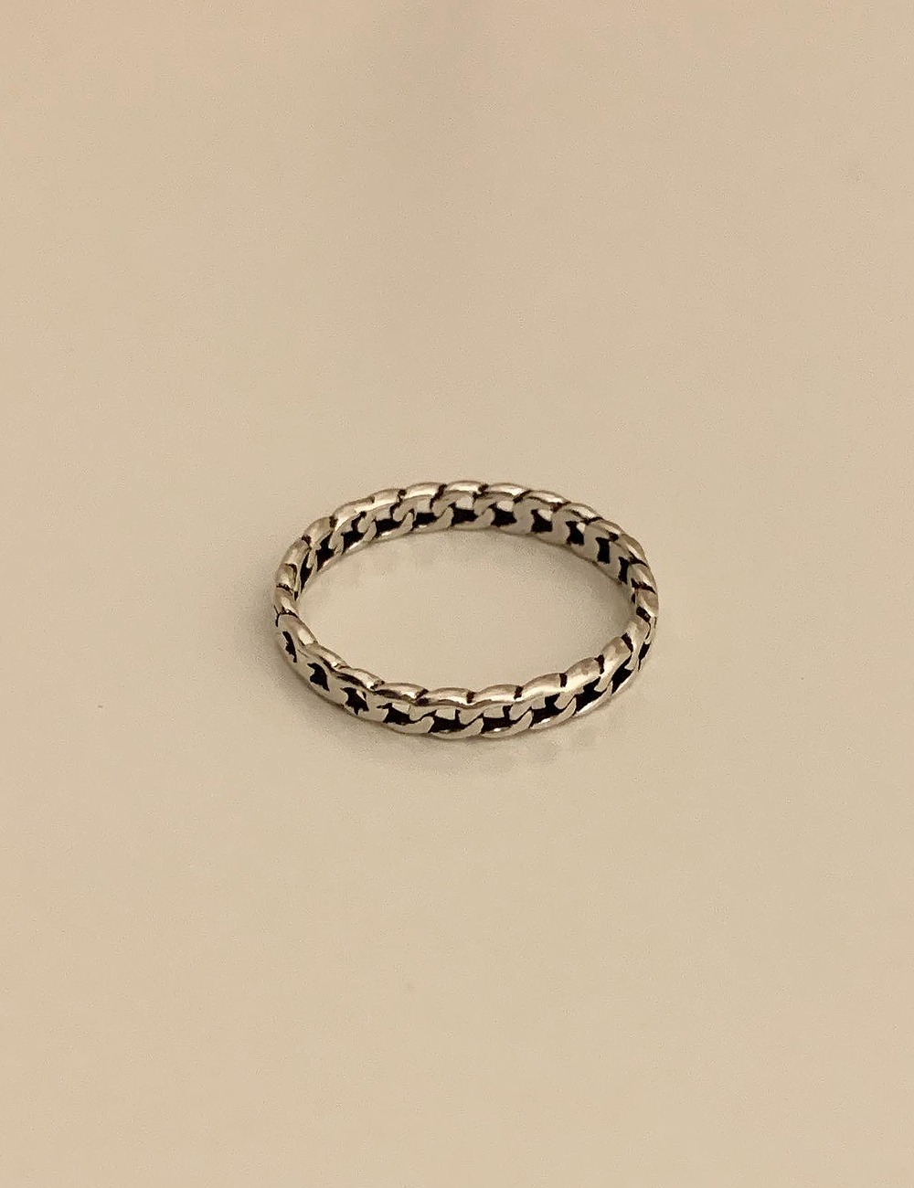 (silver 92.5) Oil chain thin ring