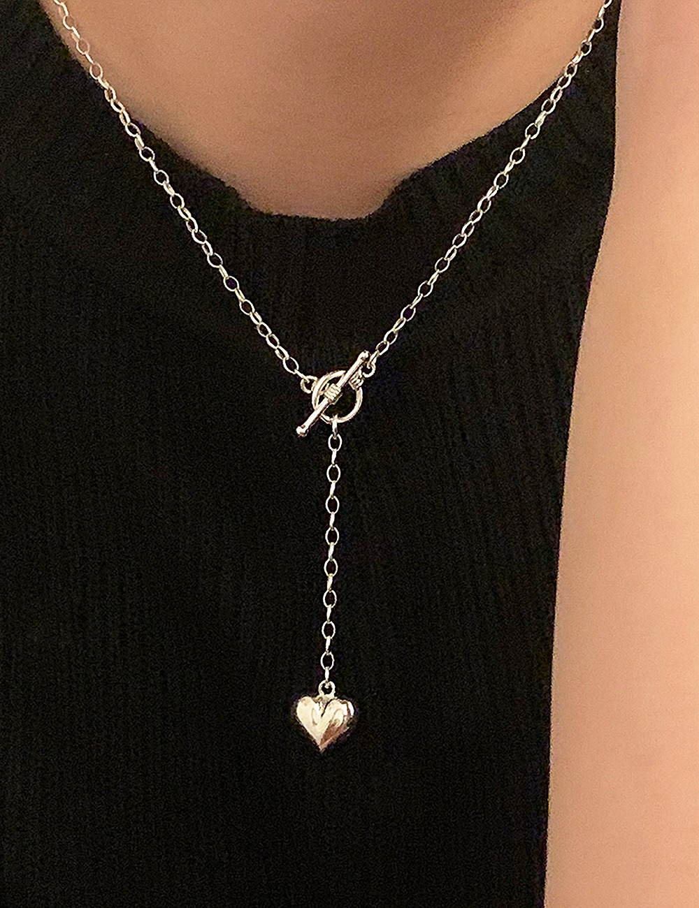 (silver 92.5) Heart toggle necklace