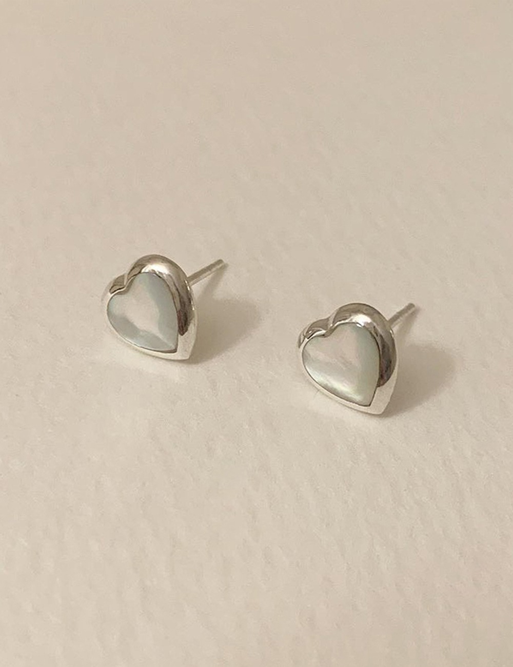 (silver 92.5) Nacre heart earring / 2color