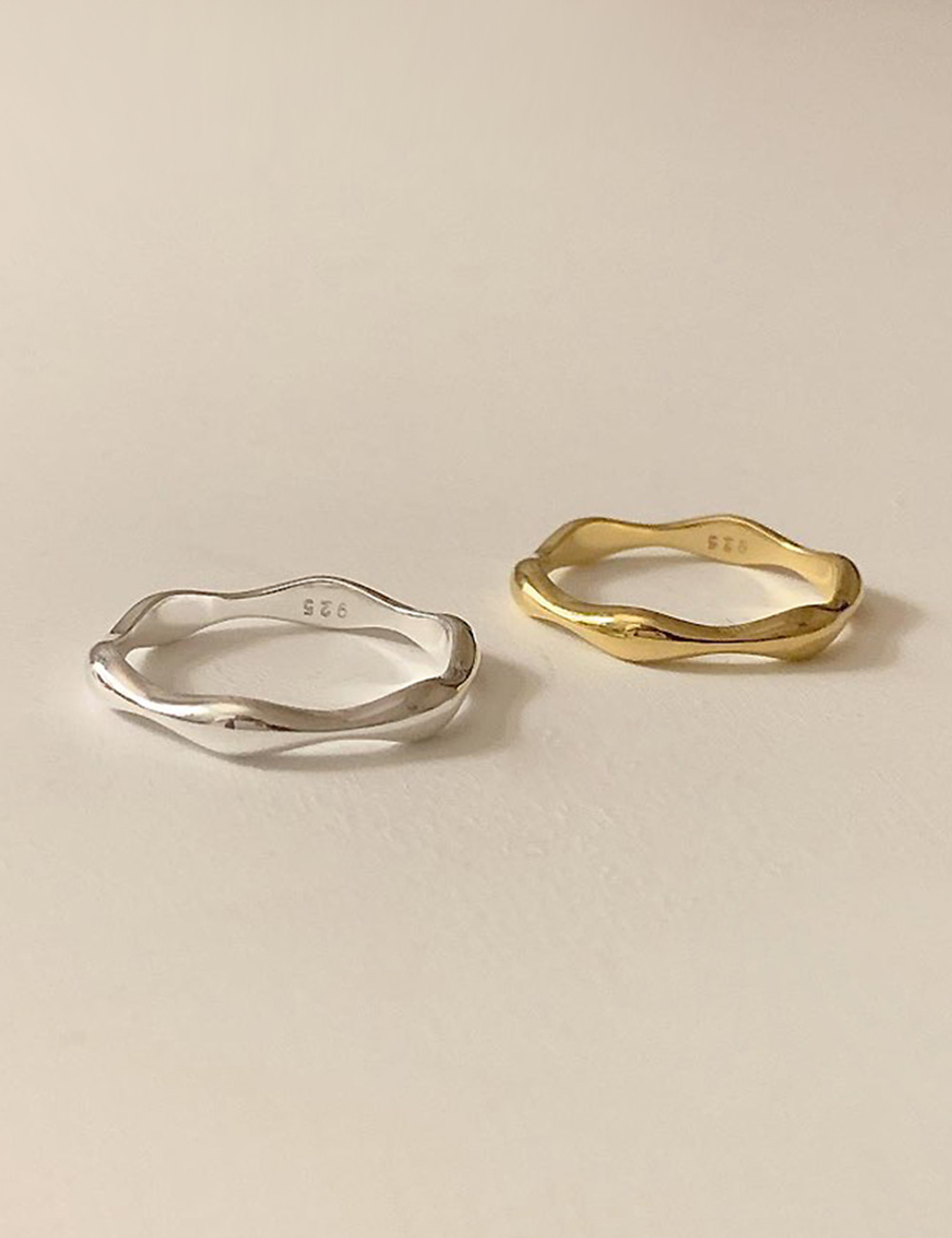 (silver 92.5) Wave layered ring