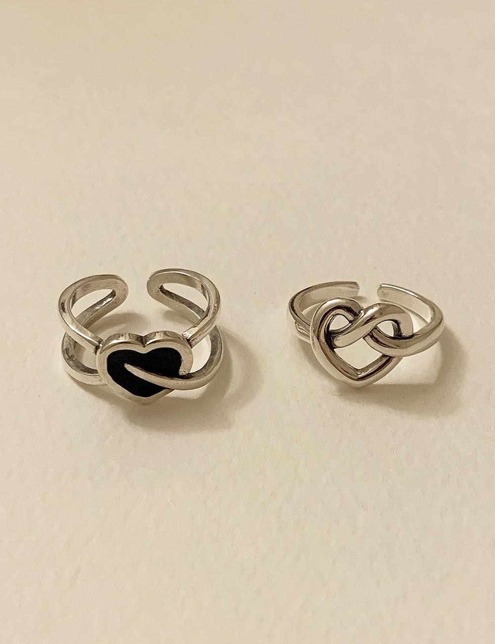 (silver 92.5) Heart bold chain ring