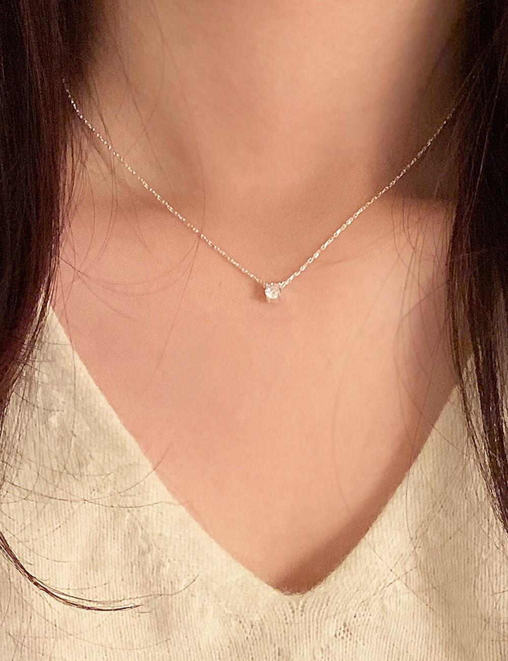 (silver 92.5) Cubic necklace