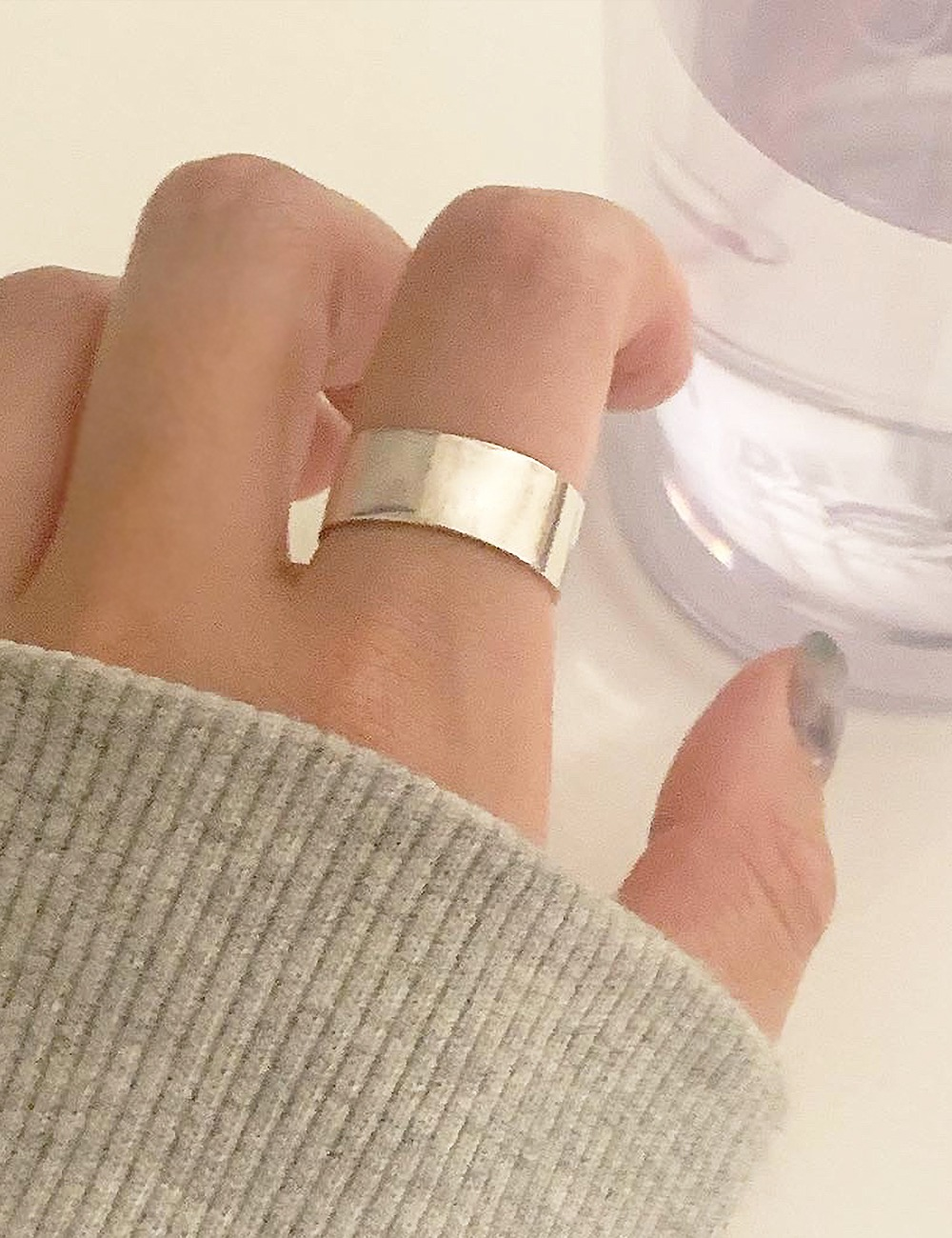 (silver 92.5) Bold wide ring