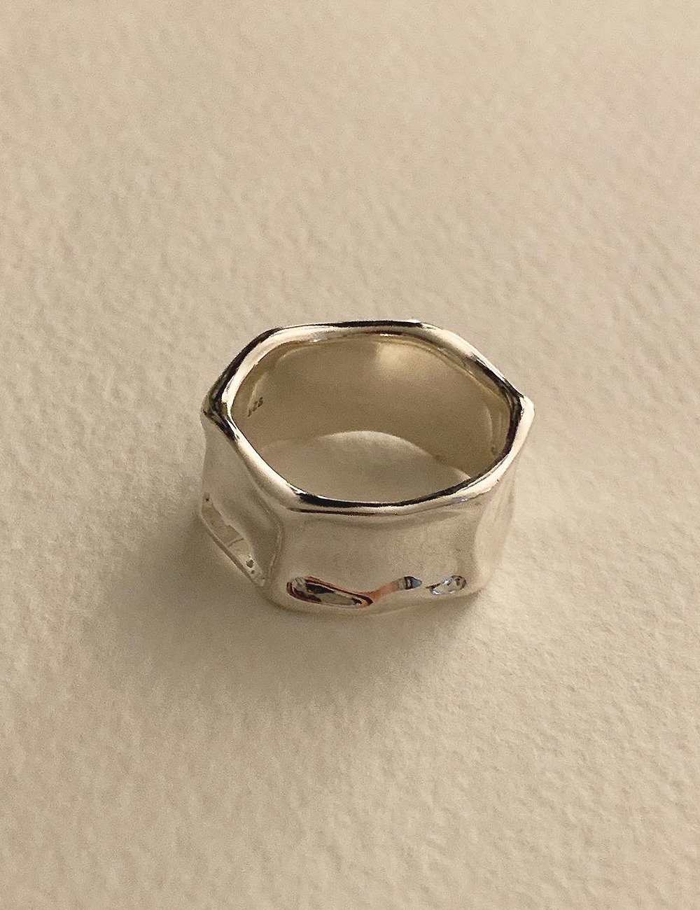 (silver 92.5) Square hammer ring