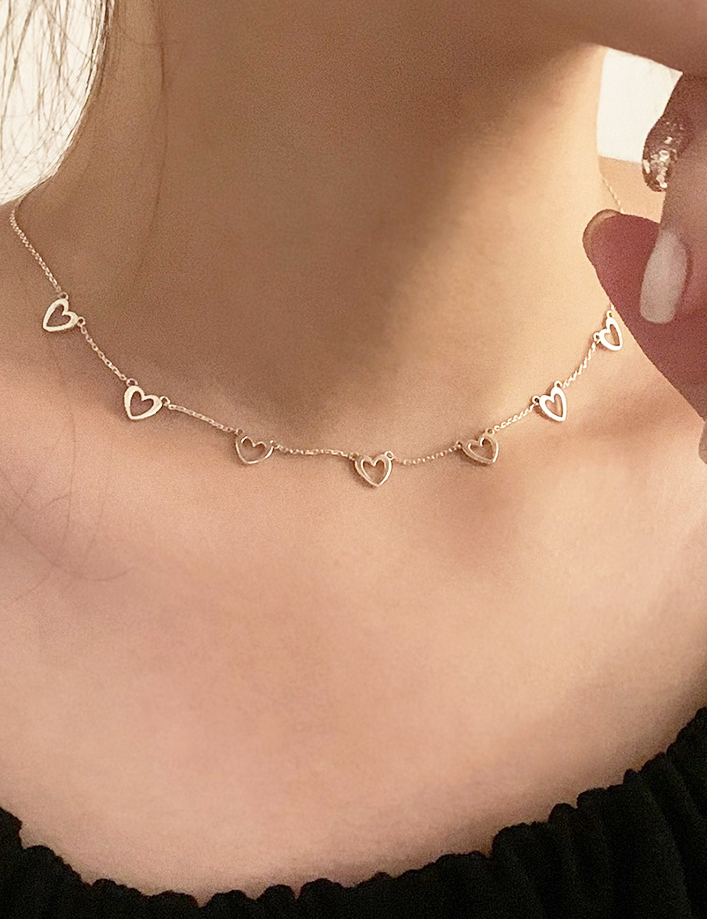 (silver 92.5) Heart line drop necklace