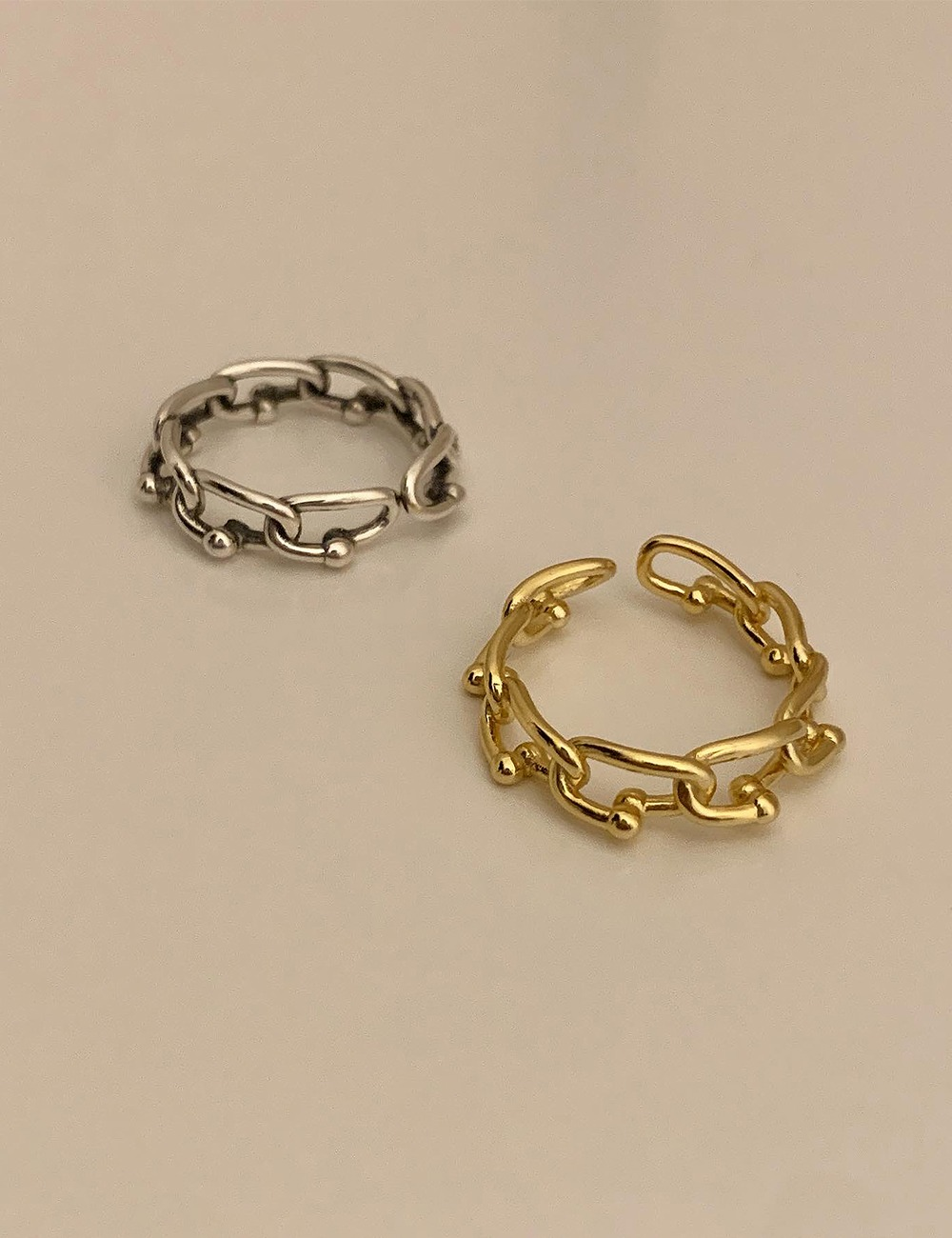(silver 92.5) Boll chain antique open ring