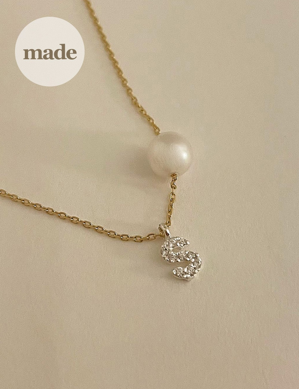 (silver 92.5) Pearl cubic initial necklace / gleamme made