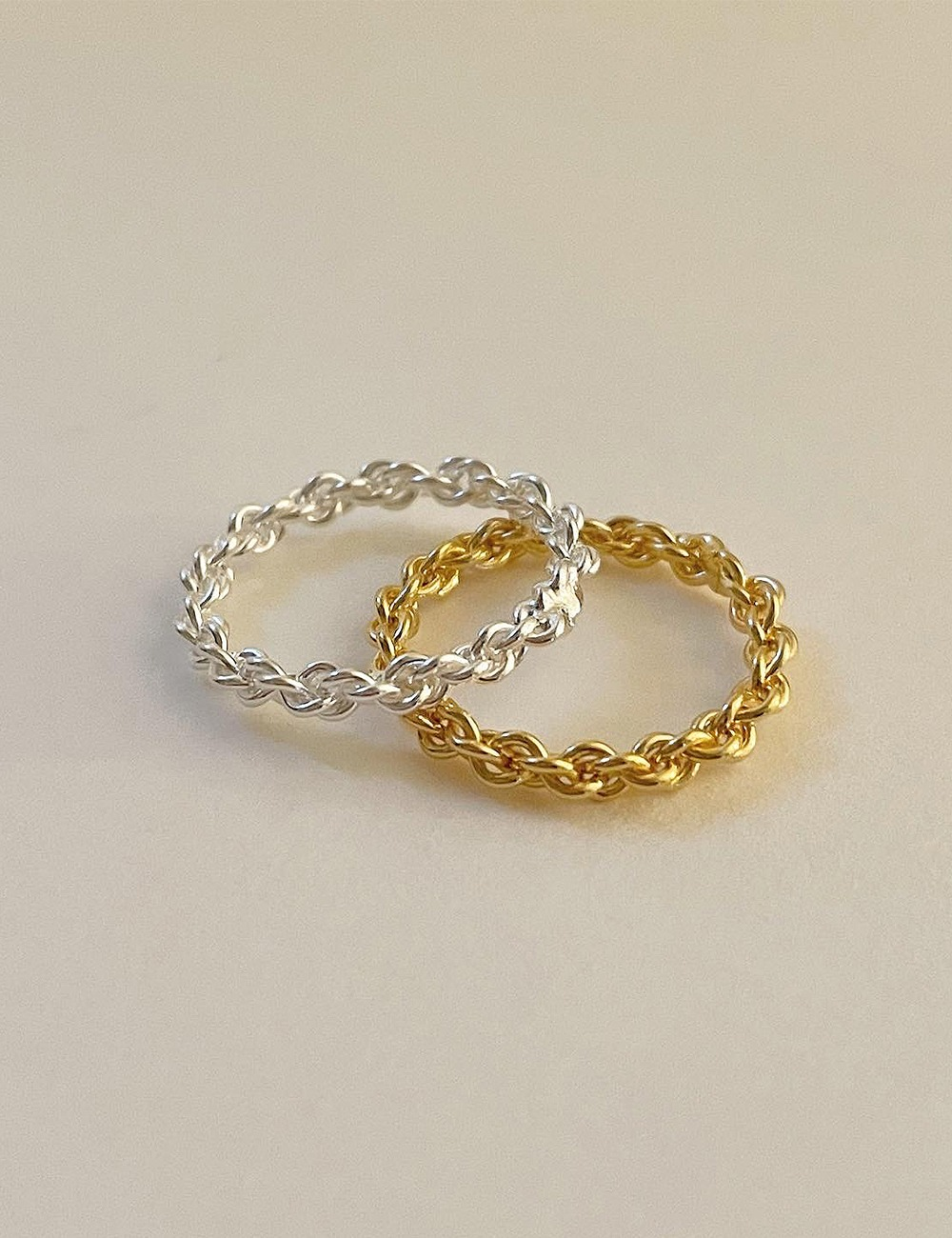 (silver 92.5) Twist chain bold ring