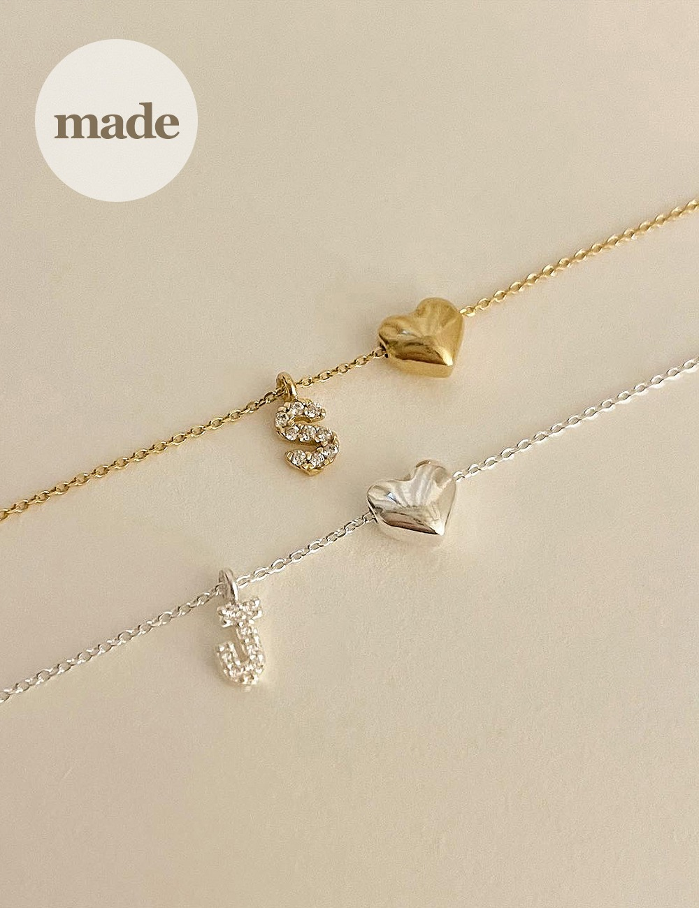 (silver 92.5) Heart cubic initial necklace / gleamme made