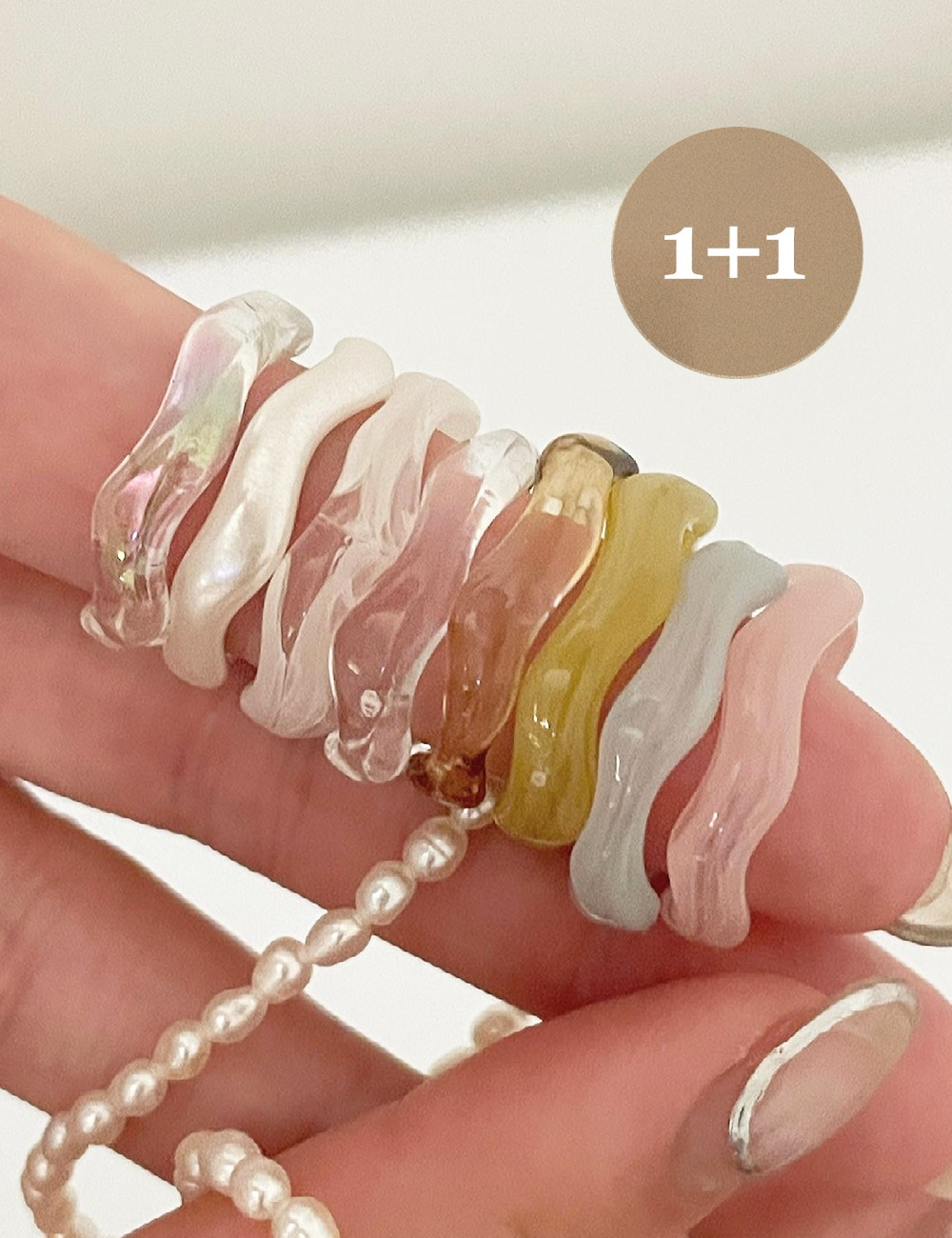 (1+1)Acrylic wave ring *8color