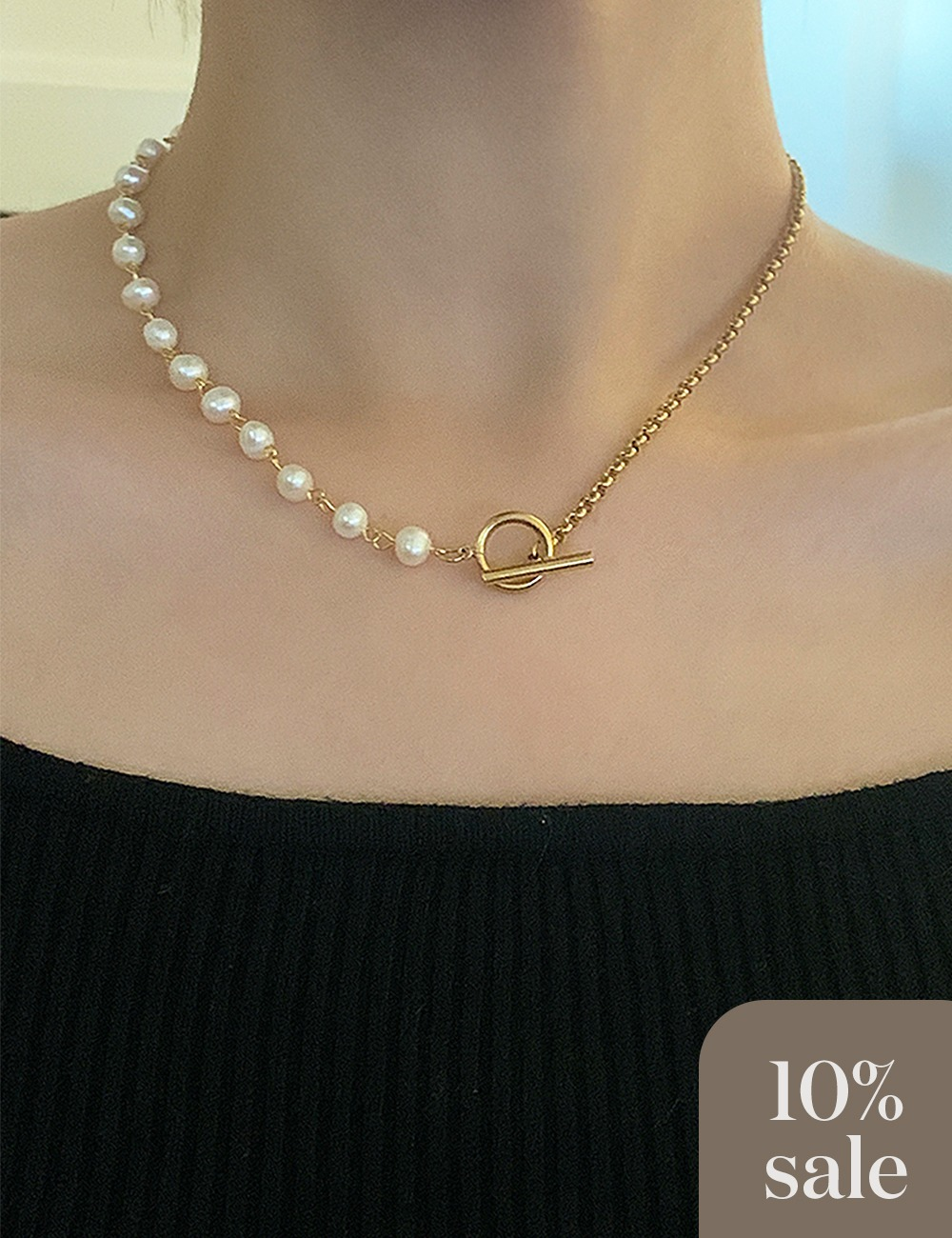 (surgical steel) Pearl half chain necklace