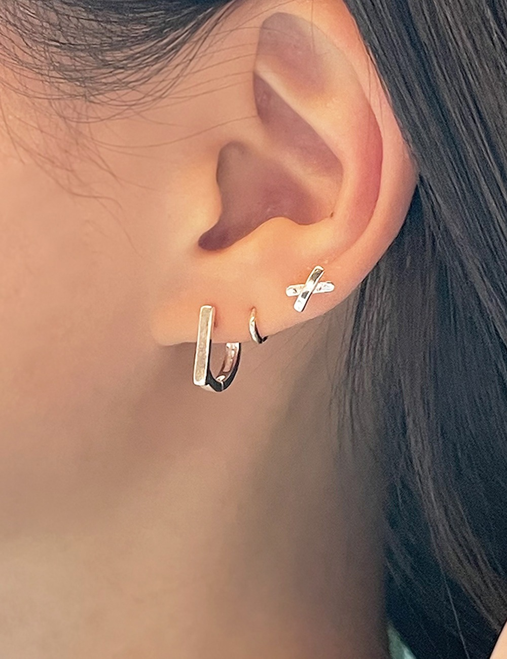 (silver925) Flat onetouch earring