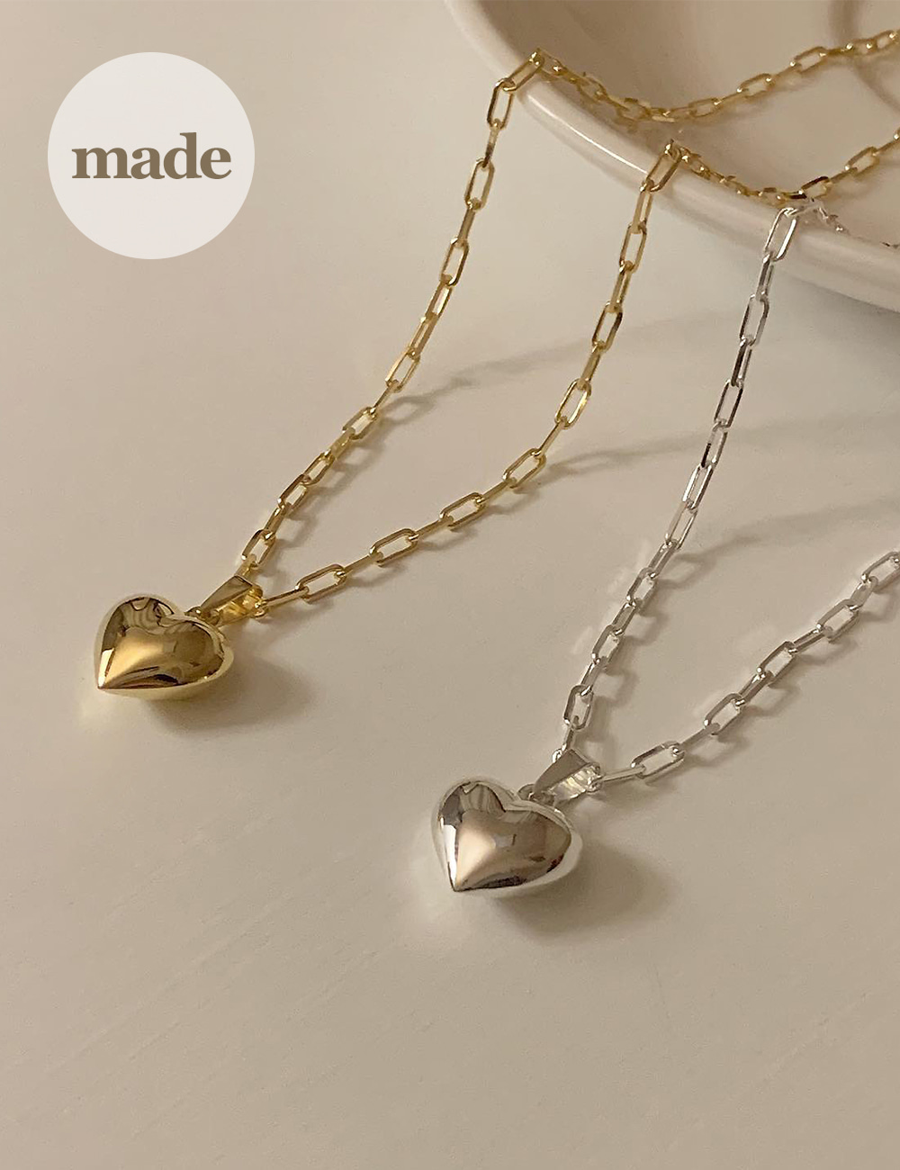 (silver 92.5) Heart chain necklace / gleamme made