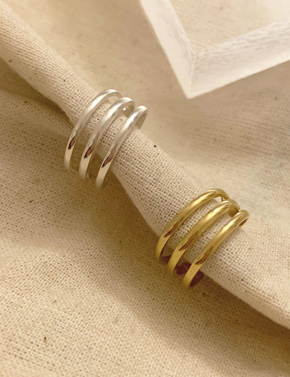 (silver 92.5) Three line ring