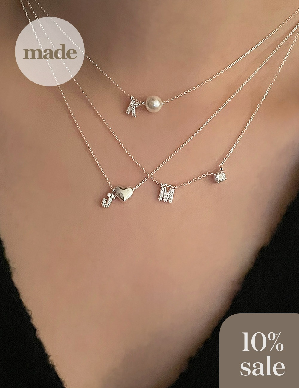 (silver 92.5) Cubic initial necklace / gleamme made